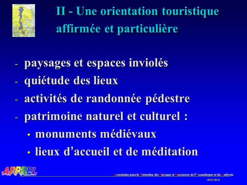 II - Une orientation touristique affirmée et particulière