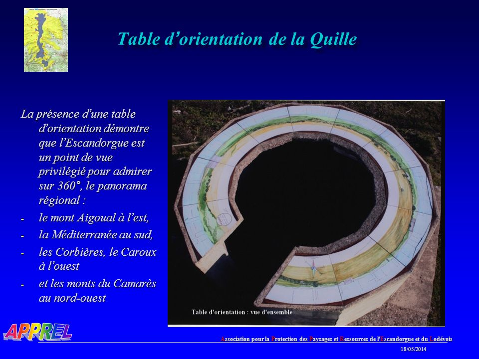 Table d'orientation de la Quille