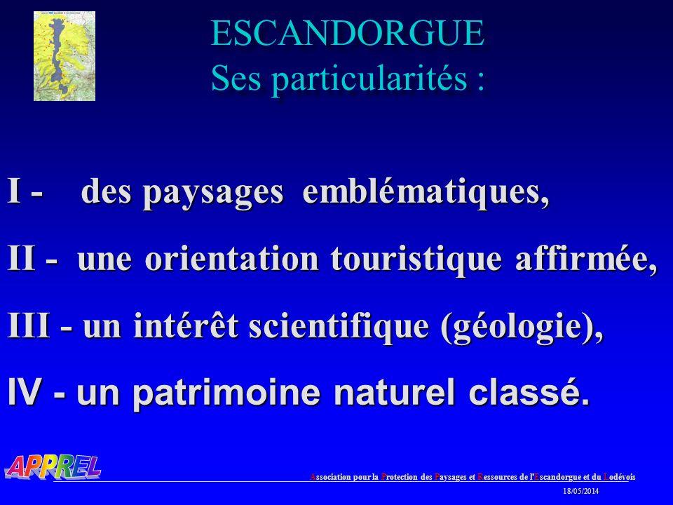 ESCANDORGUE Ses particularités :