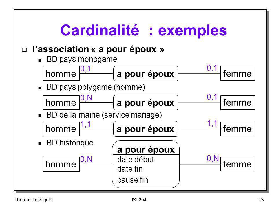 Cardinalité : exemples