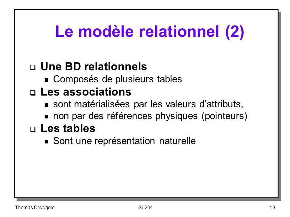 Le modèle relationnel (2)