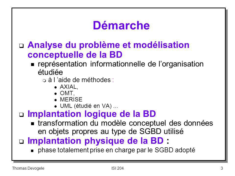 Démarche Analyse du problème et modélisation conceptuelle de la BD