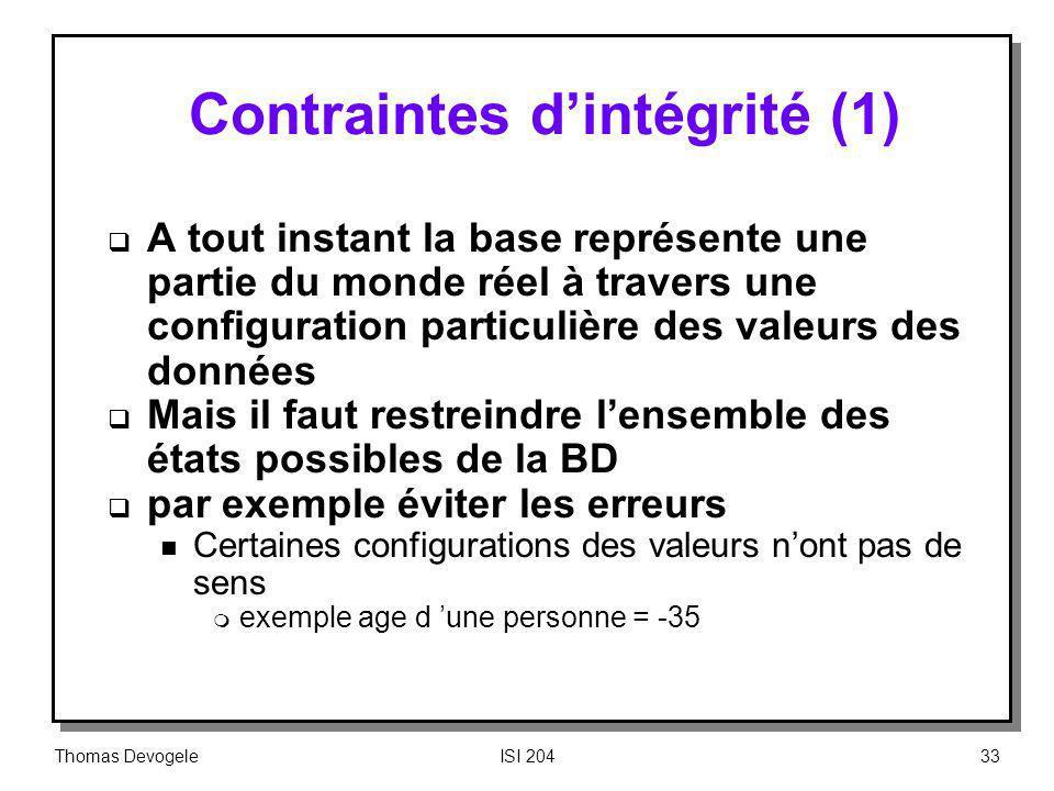 Contraintes d'intégrité (1)
