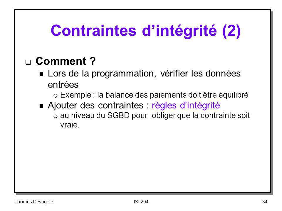 Contraintes d'intégrité (2)