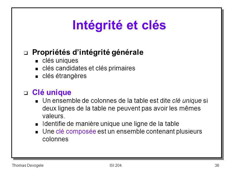 Intégrité et clés Propriétés d'intégrité générale Clé unique