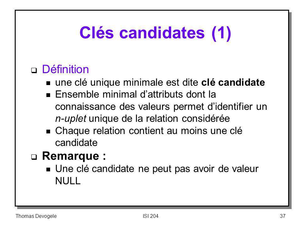 Clés candidates (1) Définition Remarque :
