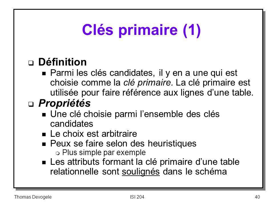 Clés primaire (1) Définition Propriétés