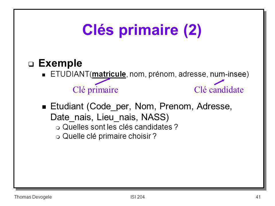 Clés primaire (2) Exemple