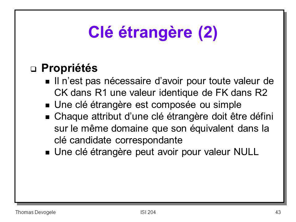 Clé étrangère (2) Propriétés