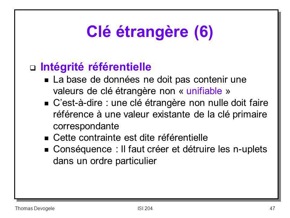 Clé étrangère (6) Intégrité référentielle