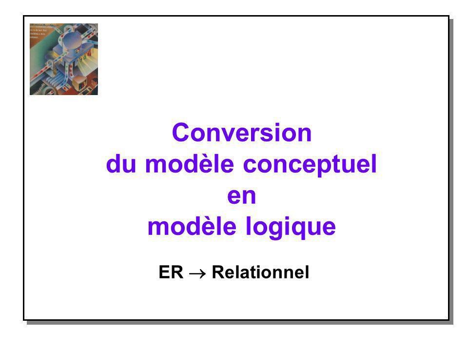 Conversion du modèle conceptuel en modèle logique