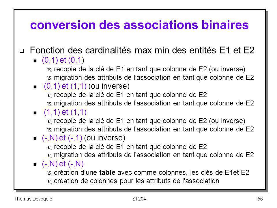 conversion des associations binaires