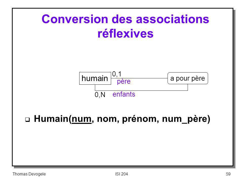 Conversion des associations réflexives
