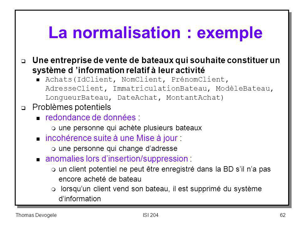 La normalisation : exemple