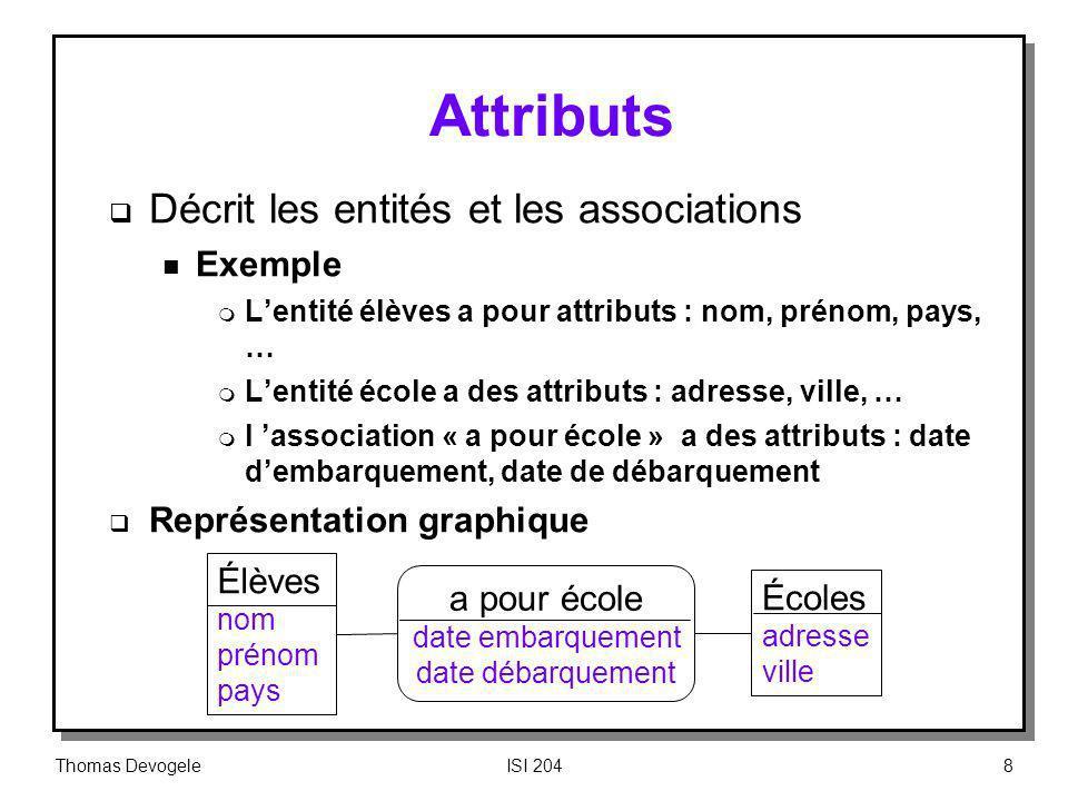 Attributs Décrit les entités et les associations Exemple