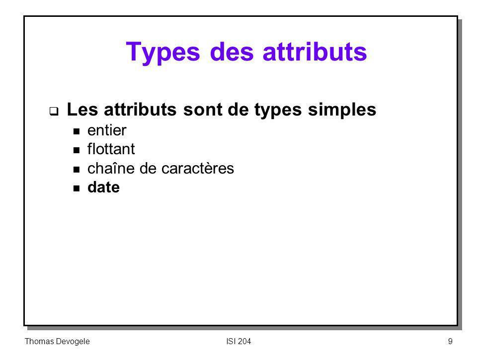 Types des attributs Les attributs sont de types simples entier