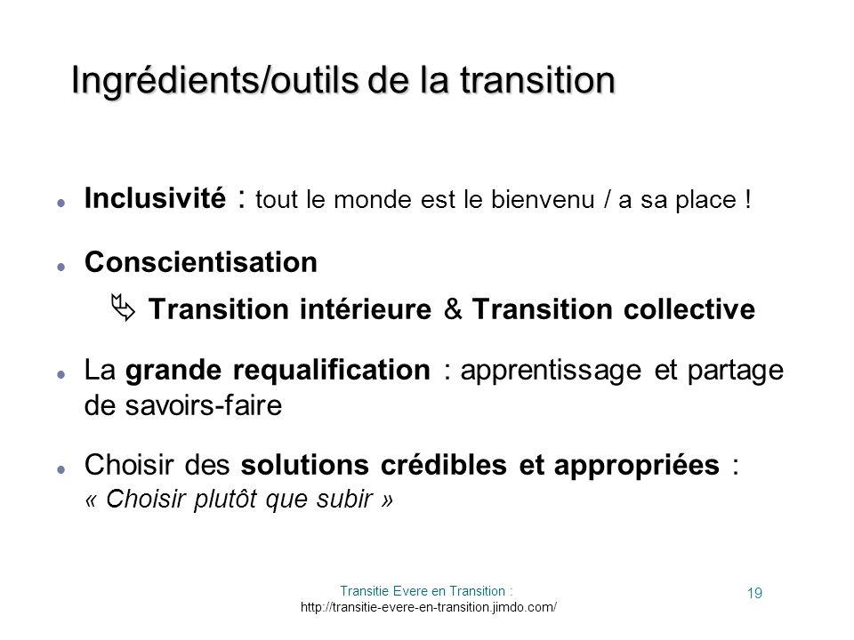 Ingrédients/outils de la transition