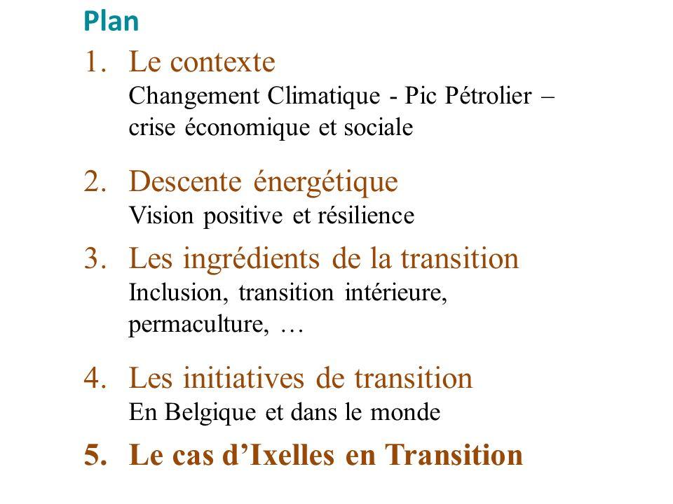 Plan Le contexte Changement Climatique - Pic Pétrolier – crise économique et sociale. Descente énergétique Vision positive et résilience.