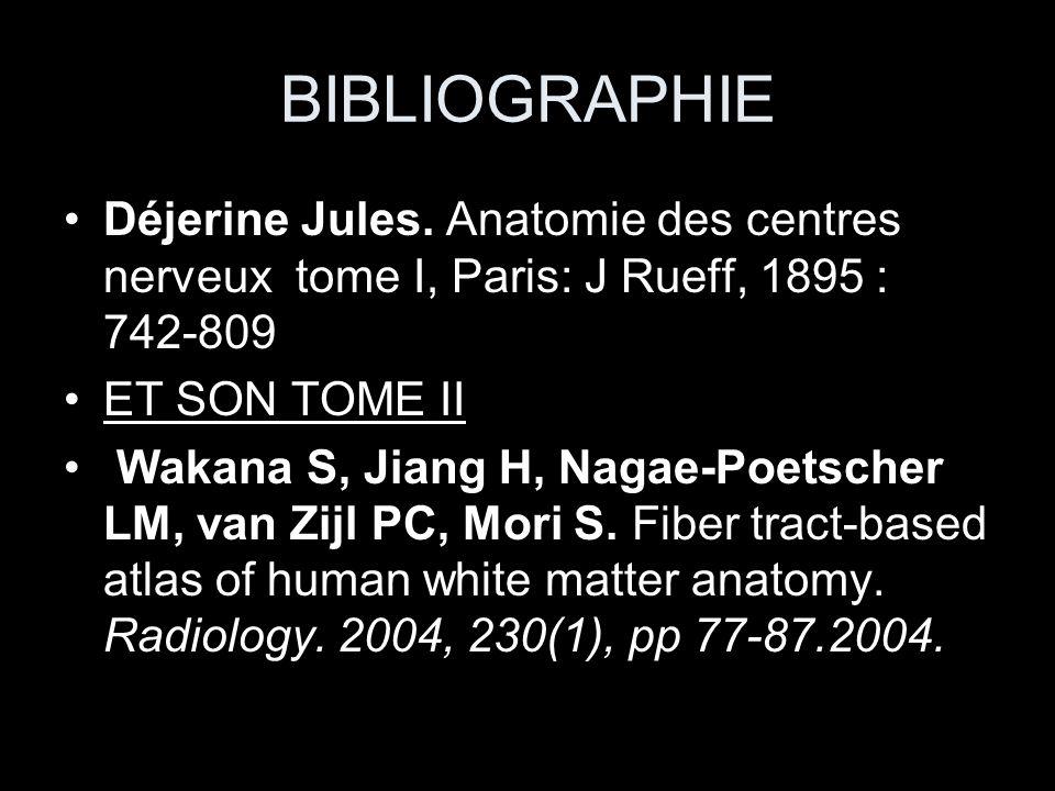 BIBLIOGRAPHIE Déjerine Jules. Anatomie des centres nerveux tome I, Paris: J Rueff, 1895 : 742-809.