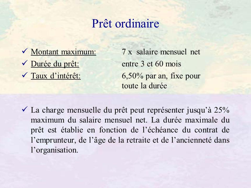 Prêt ordinaire Montant maximum: 7 x salaire mensuel net