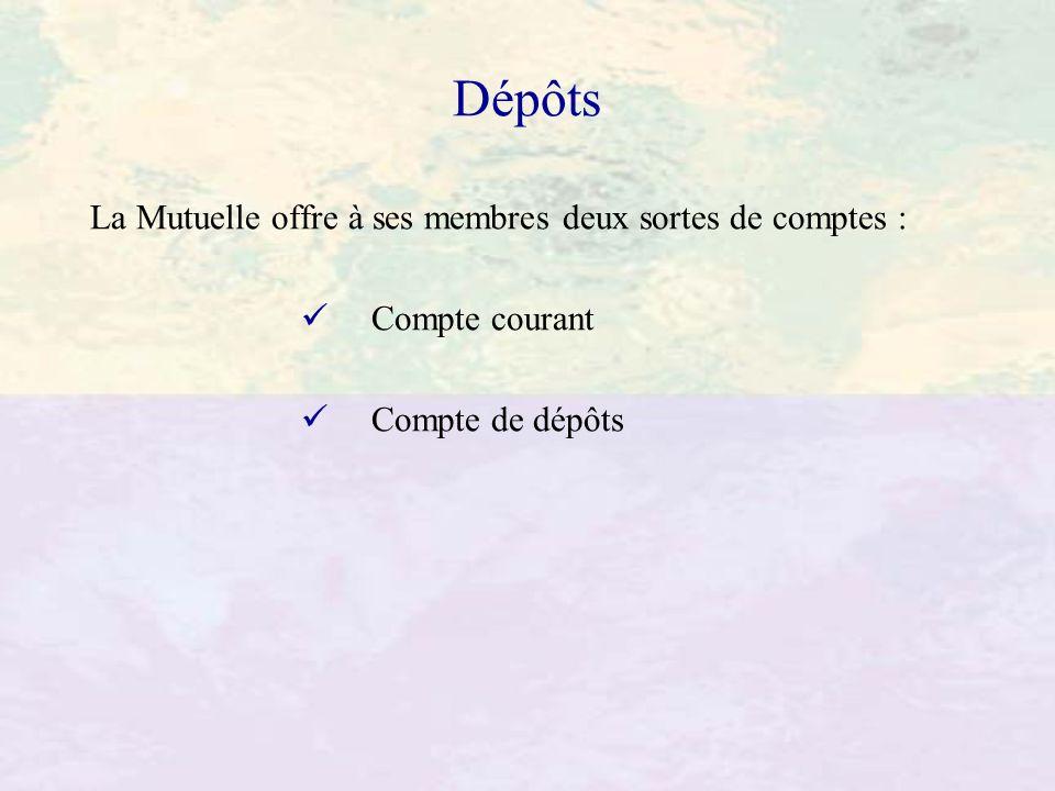 Dépôts La Mutuelle offre à ses membres deux sortes de comptes :
