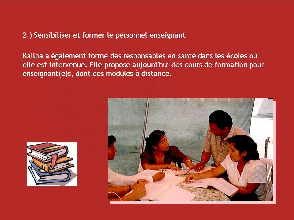 2.) Sensibiliser et former le personnel enseignant