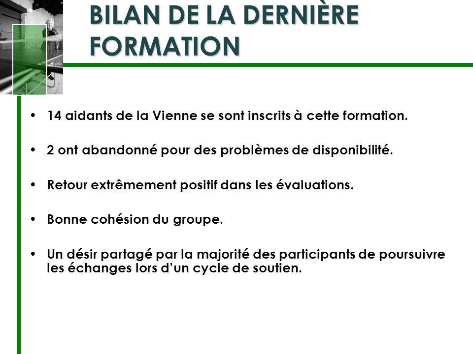 BILAN DE LA DERNIÈRE FORMATION