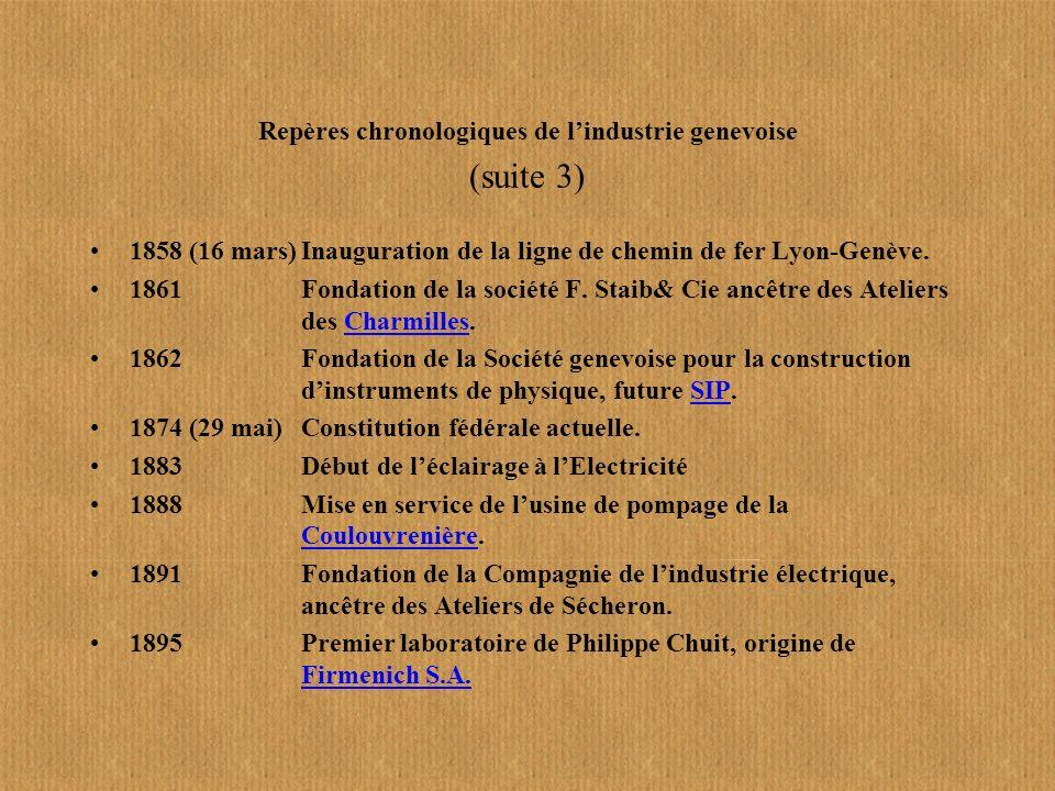 Repères chronologiques de l'industrie genevoise (suite 3)