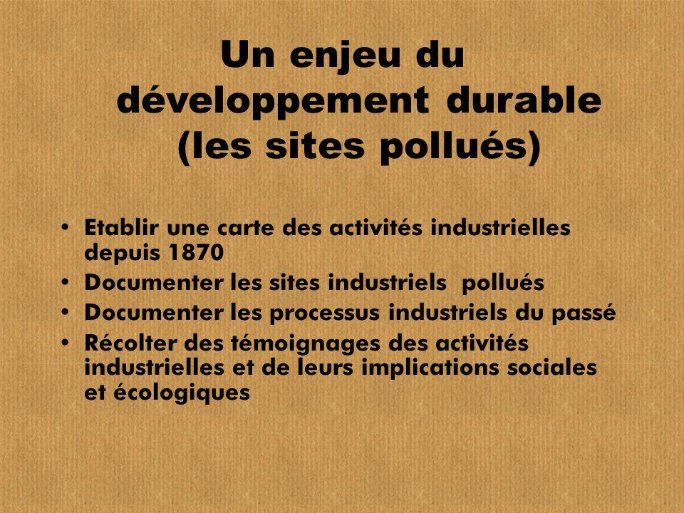 Un enjeu du développement durable (les sites pollués)