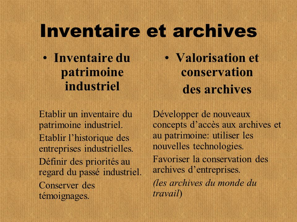 Inventaire et archives