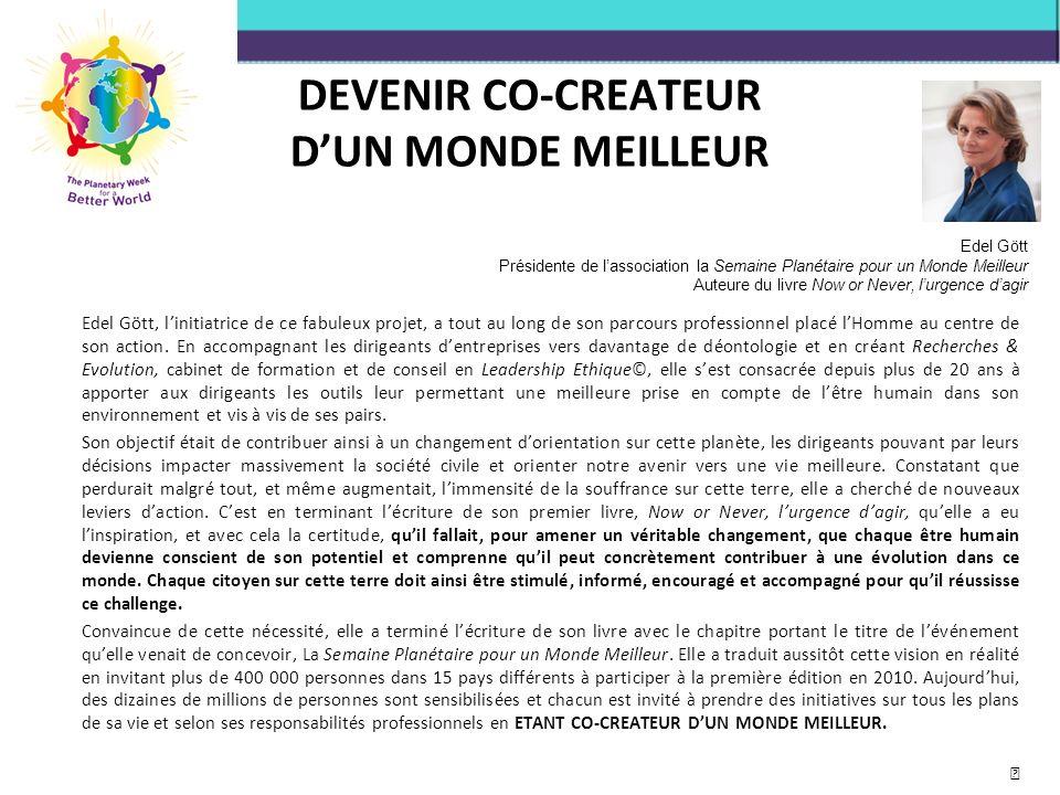 DEVENIR CO-CREATEUR D'UN MONDE MEILLEUR