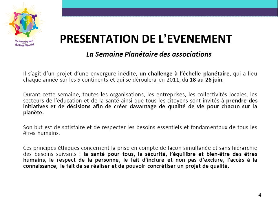 PRESENTATION DE L'EVENEMENT
