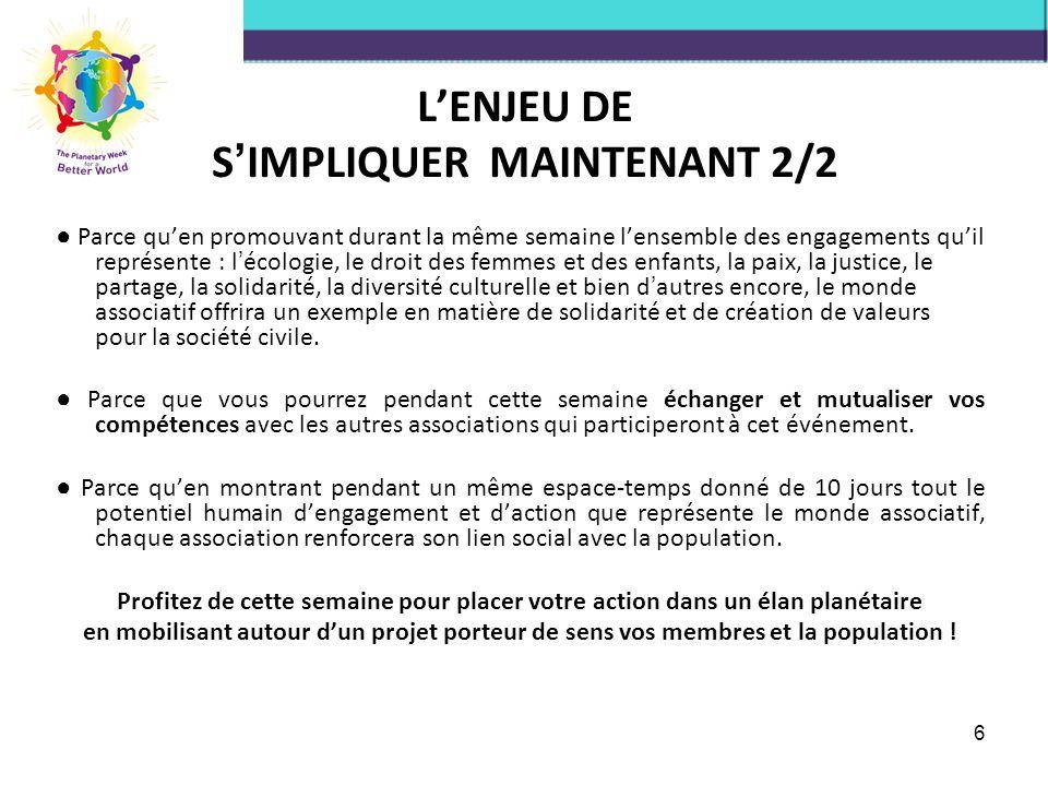 L'ENJEU DE S'IMPLIQUER MAINTENANT 2/2