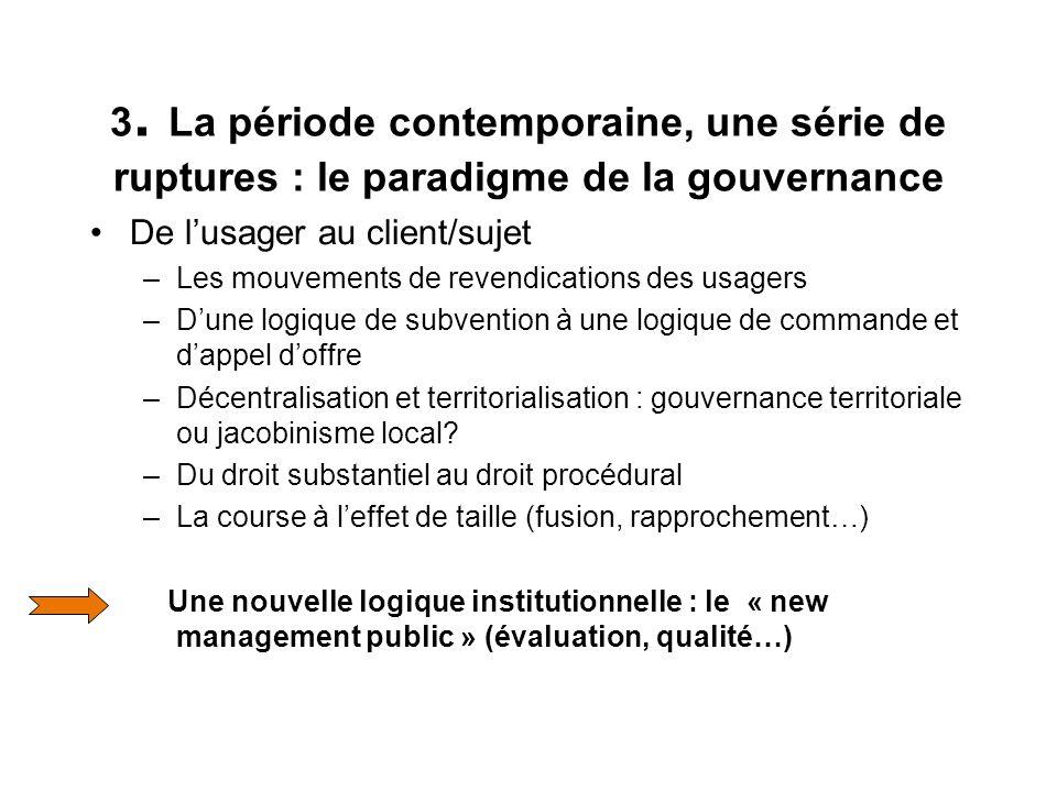 3. La période contemporaine, une série de ruptures : le paradigme de la gouvernance