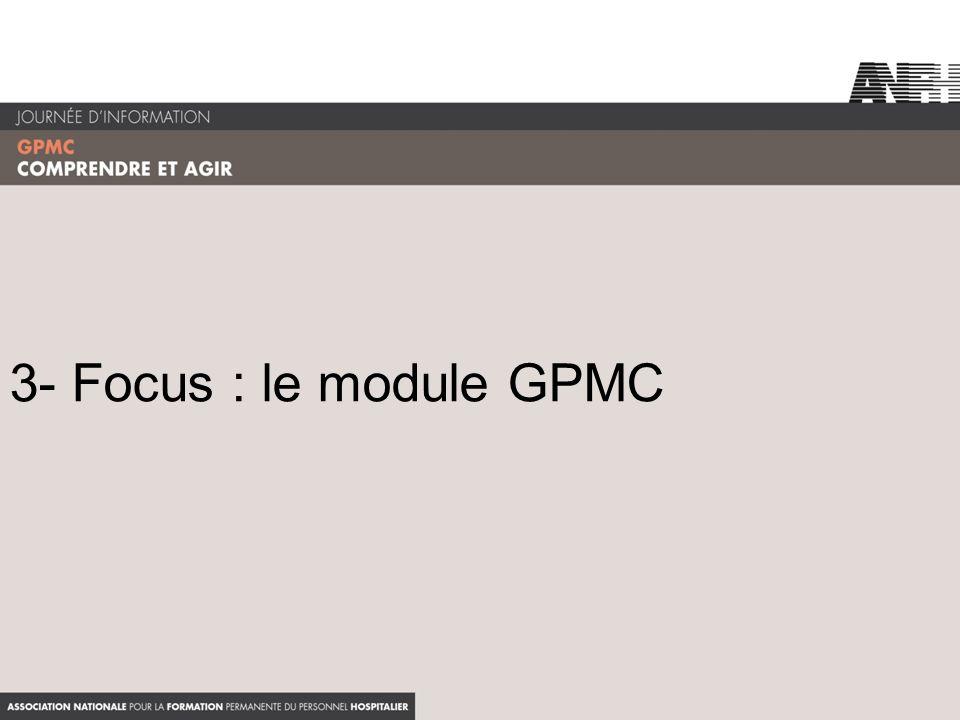 3- Focus : le module GPMC Bien préciser que le module GPMC est partie intégrante du dispositif d'accompagnement.
