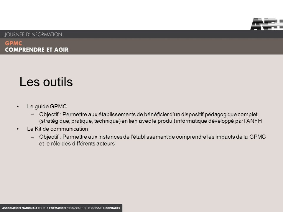 Les outils Le guide GPMC