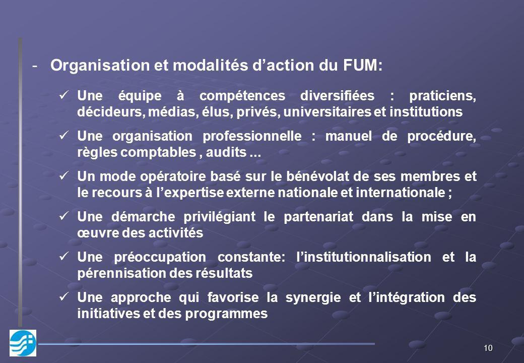 Organisation et modalités d'action du FUM: