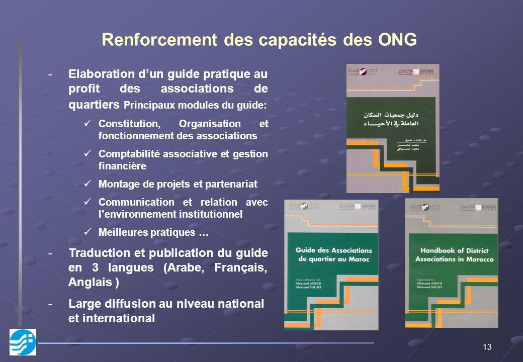 Renforcement des capacités des ONG