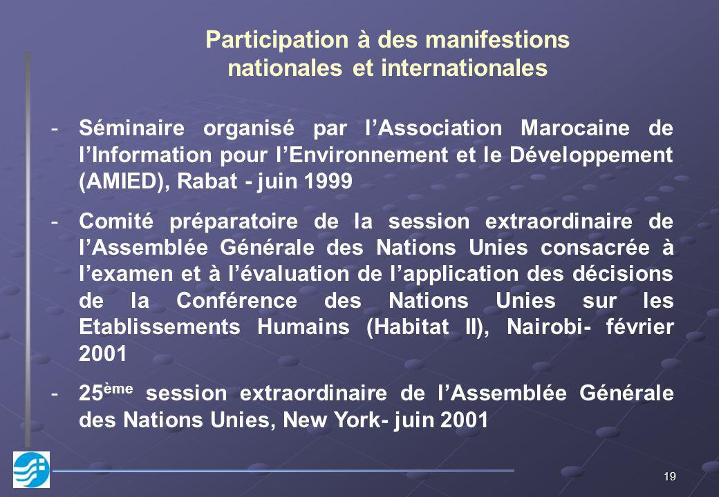 Participation à des manifestions nationales et internationales