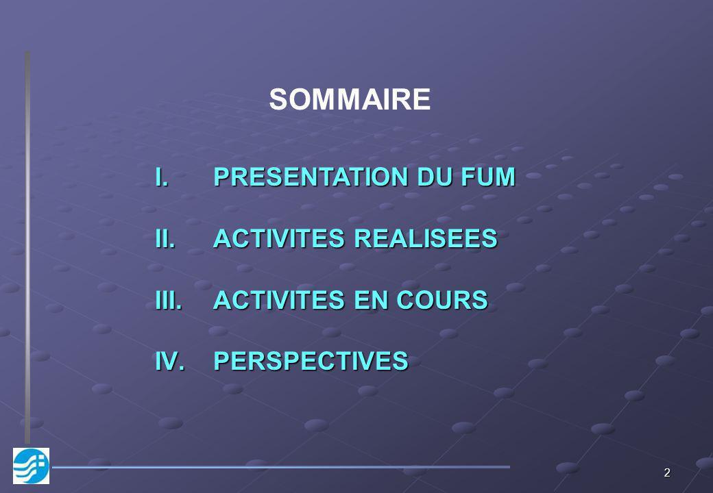 SOMMAIRE PRESENTATION DU FUM ACTIVITES REALISEES ACTIVITES EN COURS