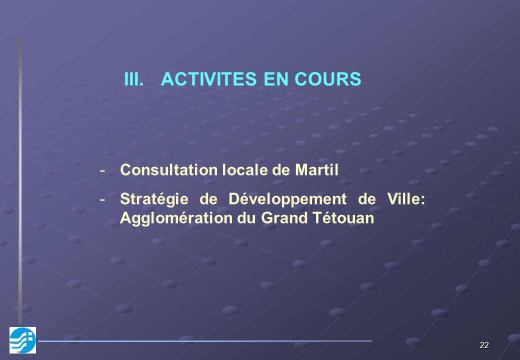 ACTIVITES EN COURS Consultation locale de Martil