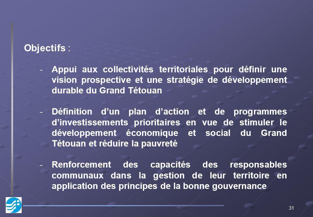 Objectifs : Appui aux collectivités territoriales pour définir une vision prospective et une stratégie de développement durable du Grand Tétouan.