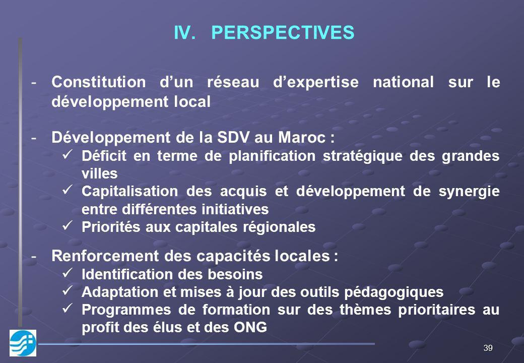PERSPECTIVES Constitution d'un réseau d'expertise national sur le développement local. Développement de la SDV au Maroc :