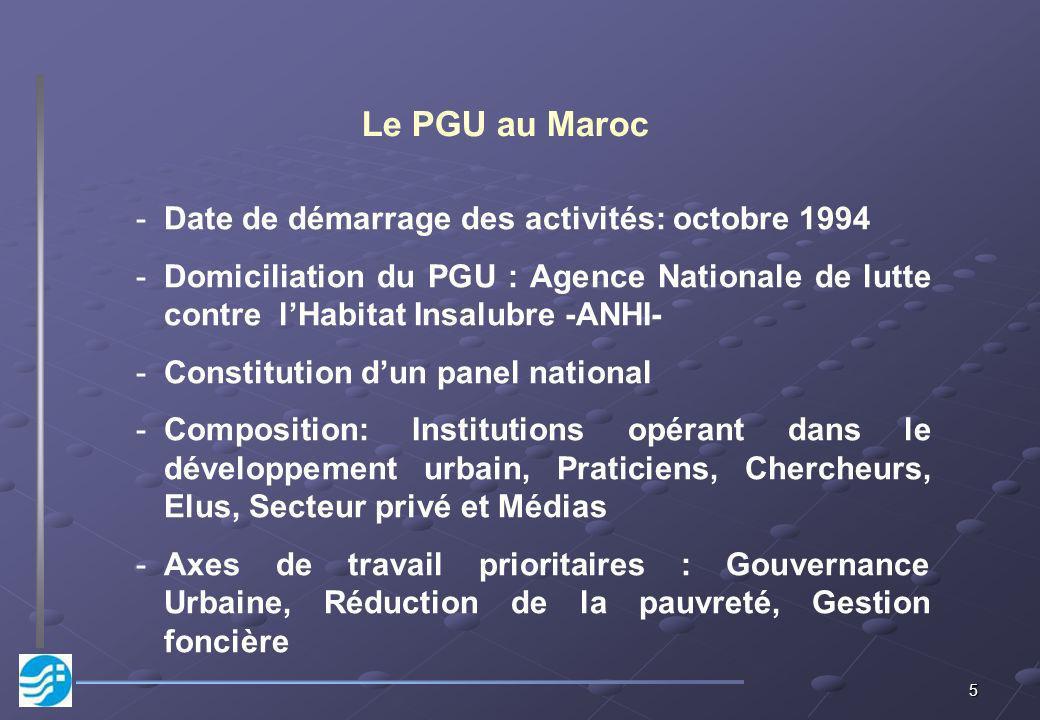 Le PGU au Maroc Date de démarrage des activités: octobre 1994