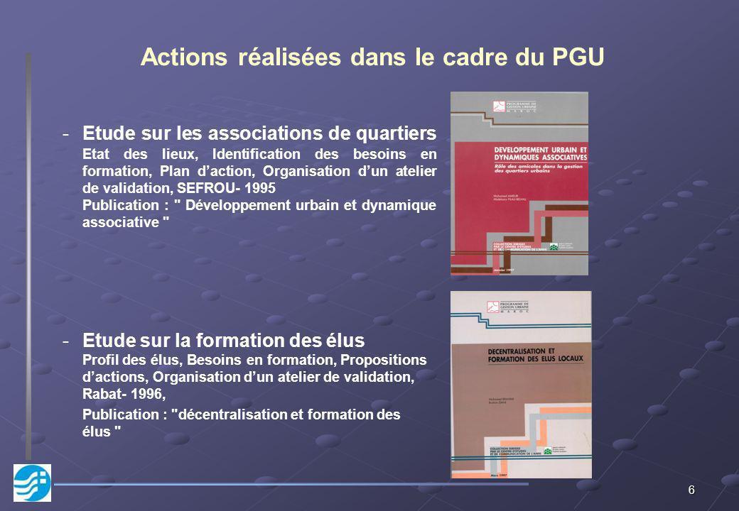 Actions réalisées dans le cadre du PGU