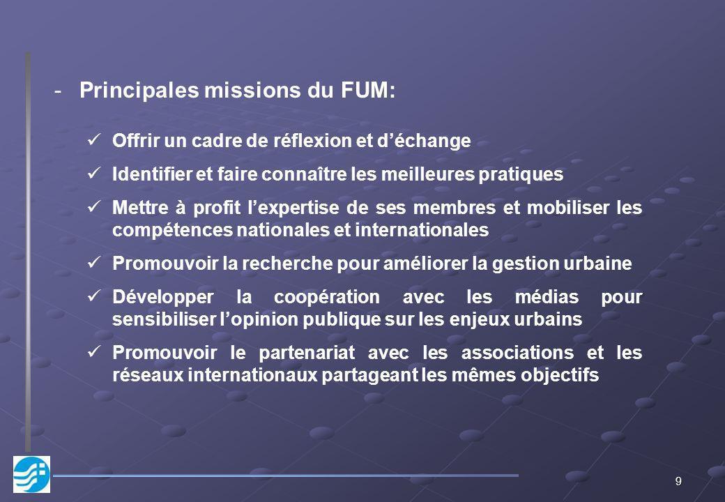 Principales missions du FUM: