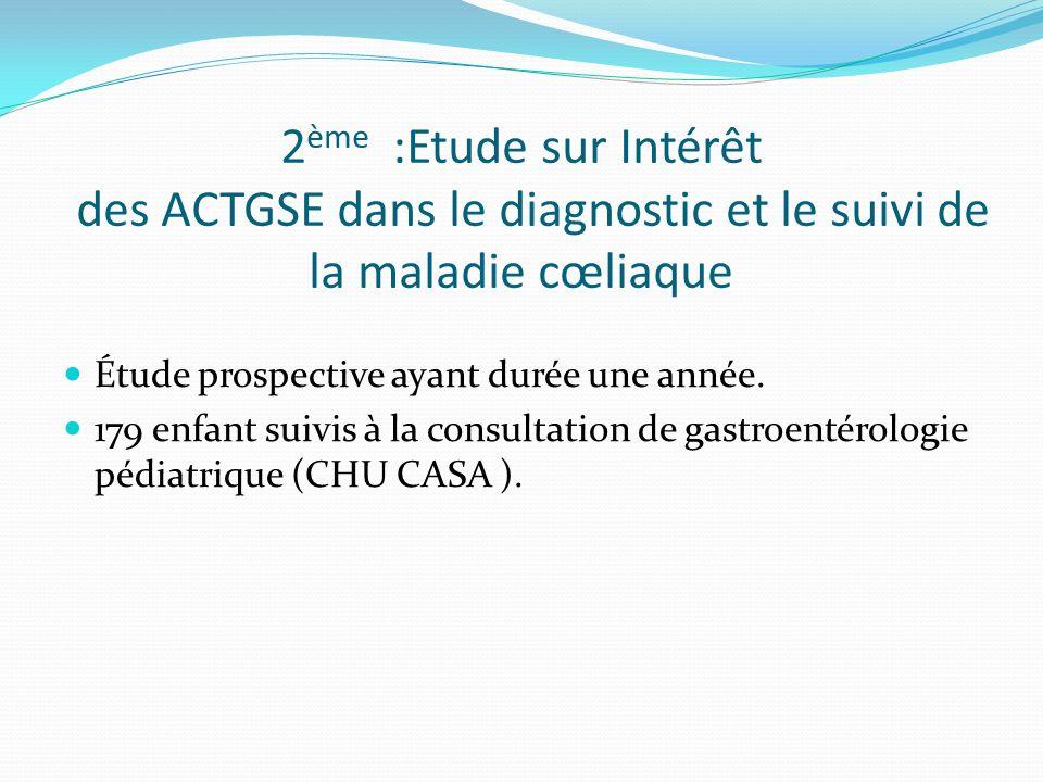 2ème :Etude sur Intérêt des ACTGSE dans le diagnostic et le suivi de la maladie cœliaque