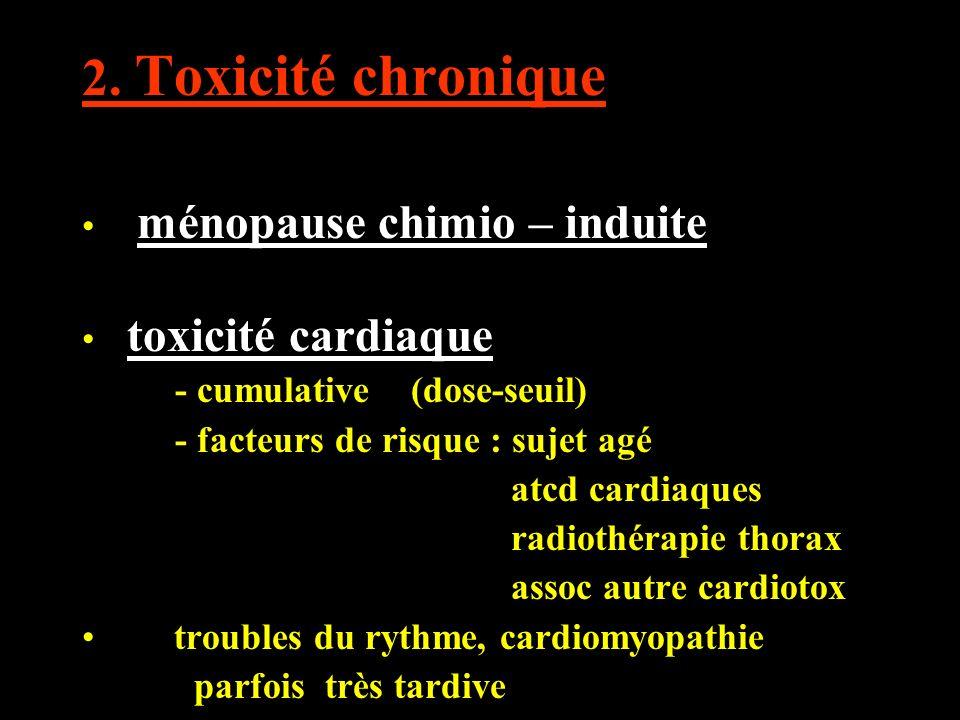 2. Toxicité chronique ménopause chimio – induite toxicité cardiaque
