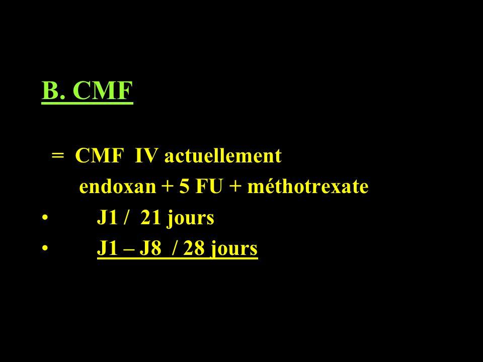 B. CMF = CMF IV actuellement endoxan + 5 FU + méthotrexate