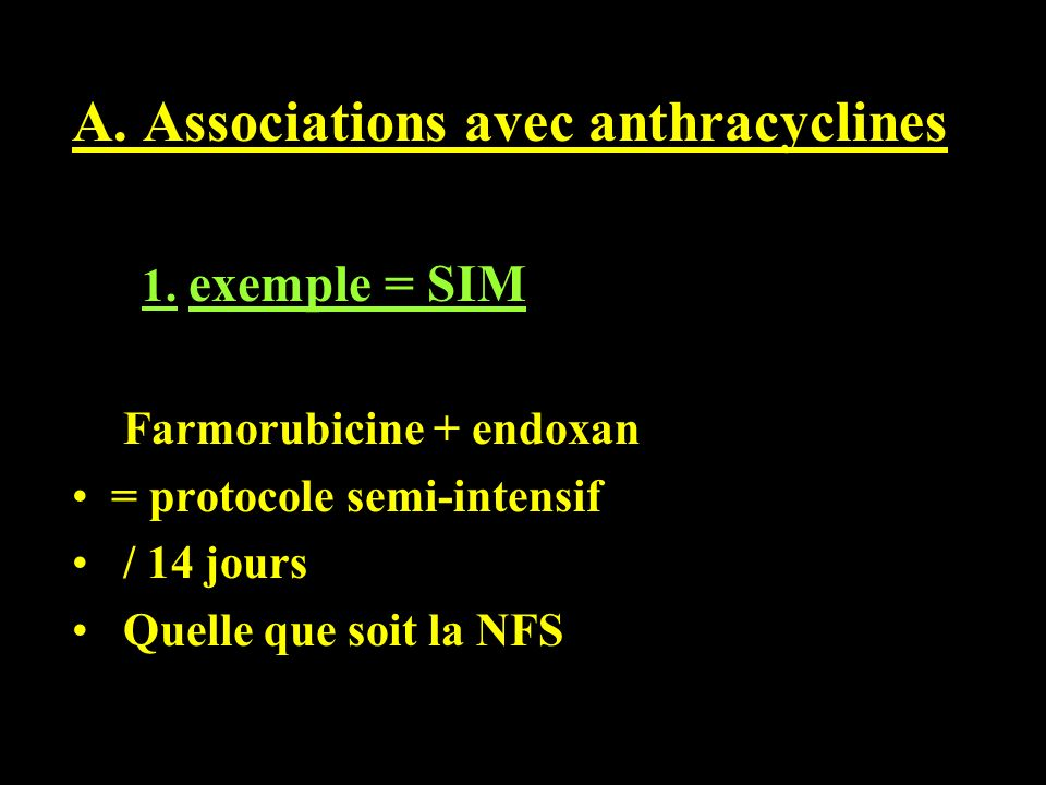 A. Associations avec anthracyclines